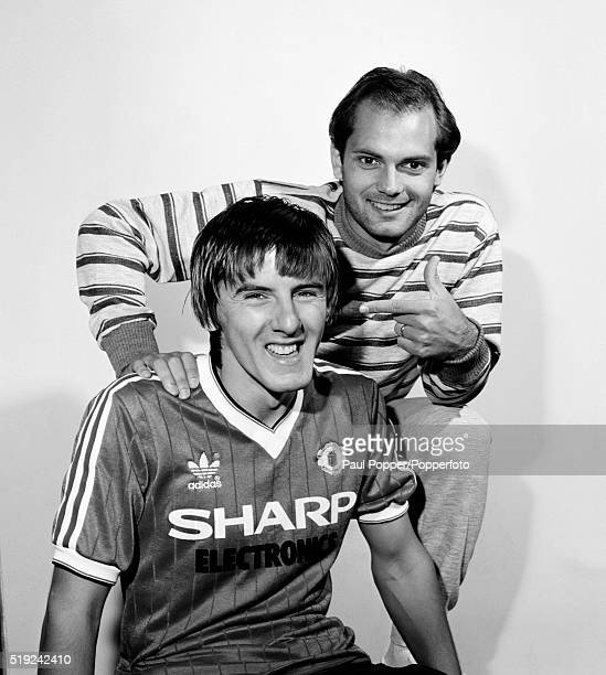 Manchester United footballers Ray Wilkins and Peter Beardsley during Beardsley's short stay at Old Trafford circa August 1982