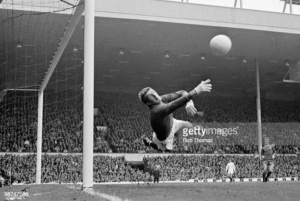 Manchester United goalkeeper Alex Stepney in action against Liverpool at Anfield circa 1969
