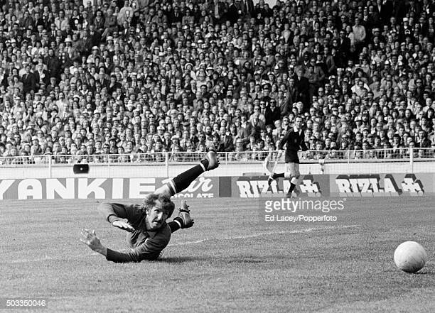 Manchester United goalkeeper Alex Stepney is beaten by a long range shot from Bobby Stokes for Southampton's winning goal in the 83rd minute of the...