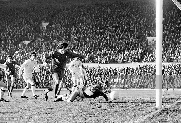 Manchester United goalkeeper Alex Stepney saves from Kevin Keegan of Liverpool during their First Division match at Anfield in Liverpool 22nd...