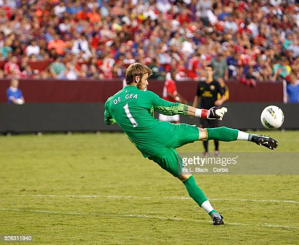 Manchester United goalkeeper David De gea clears the ball during the World Football Challenge Friendly match between FC Barcelona and Manchester...