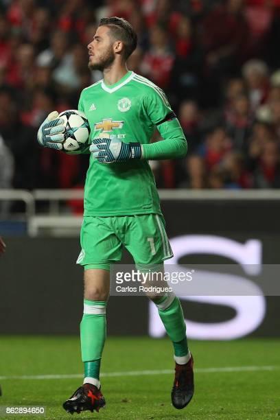 Manchester United goalkeeper David de Gea from Spain during SL Benfica v Manchester United UEFA Champions League round three match at Estadio da Luz...
