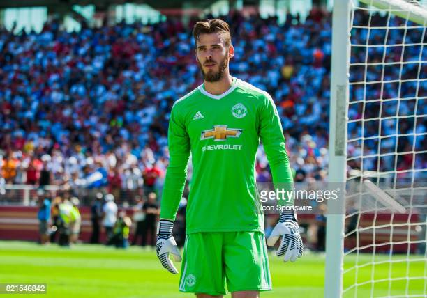 Manchester United goalkeeper David De Gea takes a moment before stepping into the goal for kicks to decide the game during the International...
