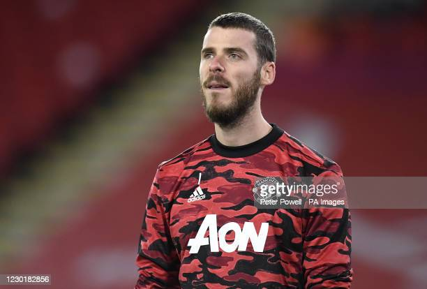 Manchester United goalkeeper David de Gea warming up before the Premier League match at Bramall Lane, Sheffield.