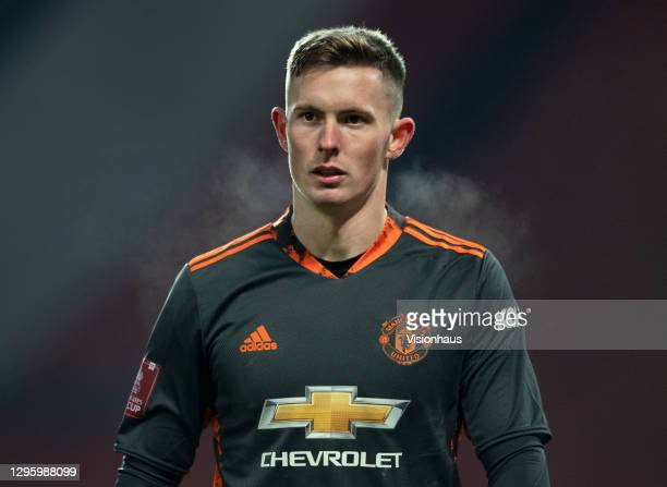 Manchester United goalkeeper Dean Henderson during the FA Cup Third Round match between Manchester United and Watford on January 9, 2021 in...