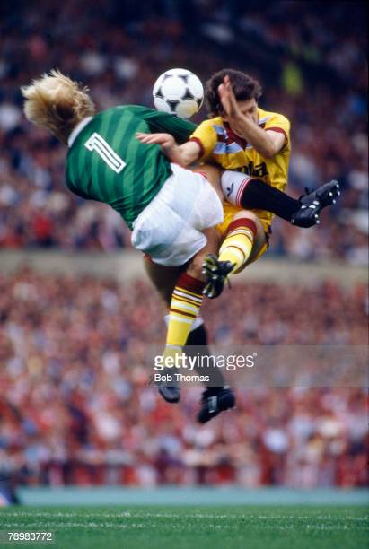 Manchester United goalkeeper Gary Bailey collides with Colin Gibson of Aston Villa during play in the Division 1 match between Manchester United and...