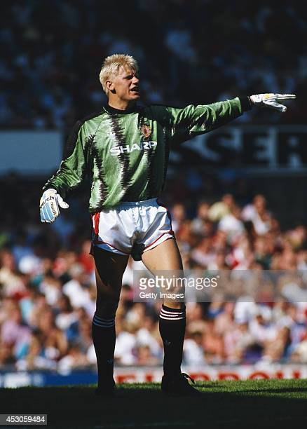 Manchester United goalkeeper Peter Schmeichel in action during a League Division One match between Manchester United and Leeds United at Old Trafford...