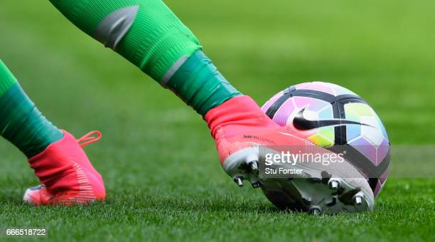 Manchester United goalkeeper Sergio Romero clears the Nike match ball during the Premier League match between Sunderland and Manchester United at...