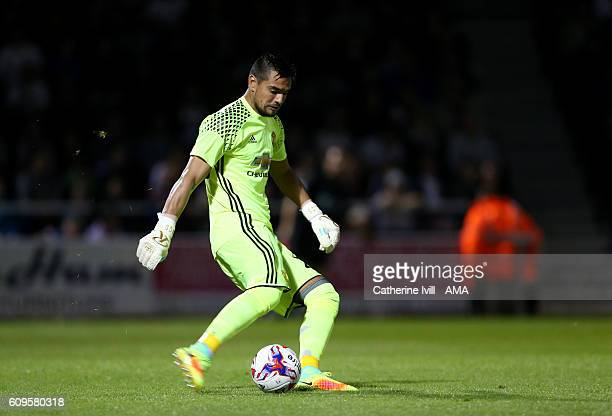 Manchester United goalkeeper Sergio Romero during the EFL Cup match between Northampton Town and Manchester United at Sixfields on September 21 2016...