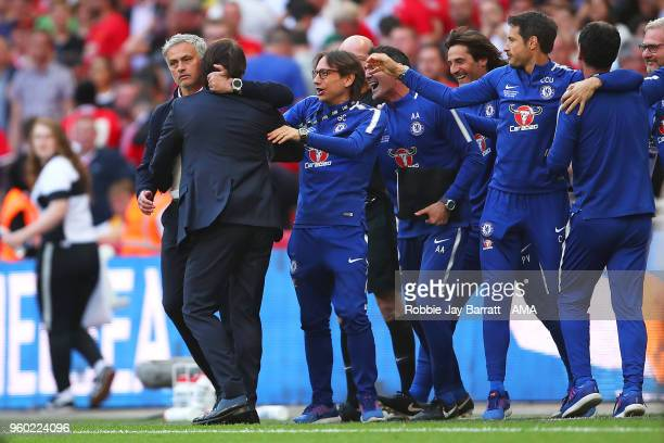 Manchester United Head Coach / Manager Jose Mourinho congratulates Chelsea Head Coach / Manager Antonio Conte at the end of the Emirates FA Cup Final...
