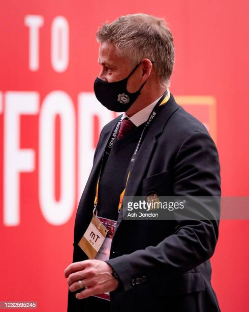 Manchester United Head Coach / Manager Ole Gunnar Solskjaer arrives prior to the UEFA Europa League Semi-final First Leg match between Manchester...