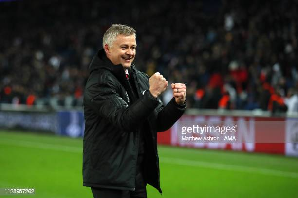 Manchester United Head Coach / Manager Ole Gunnar Solskjaer celebrates at the end of the UEFA Champions League Round of 16 Second Leg match between...