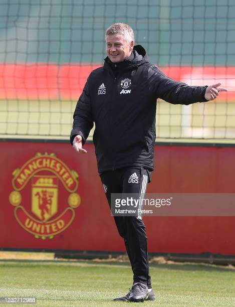 Manchester United Head Coach / Manager Ole Gunnar Solskjaer gestures during a first team training session prior to the UEFA Europa League Semi-final...