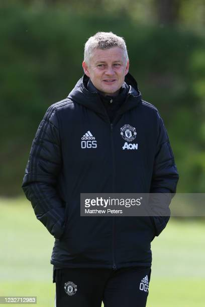 Manchester United Head Coach / Manager Ole Gunnar Solskjaer looks on during a first team training session prior to the UEFA Europa League Semi-final...