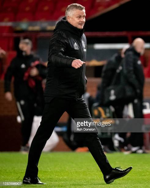 Manchester United Head Coach / Manager Ole Gunnar Solskjaer reacts at the end of the UEFA Europa League Semi-final First Leg match between Manchester...