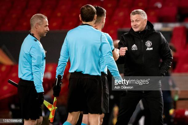 Manchester United Head Coach / Manager Ole Gunnar Solskjaer reacts to the referee at the end of the UEFA Europa League Semi-final First Leg match...