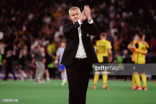 Manchester United Head Coach / Manager Ole Gunnar Solskjaer salutes the fans at the end of the UEFA Champions League group F match between BSC Young...