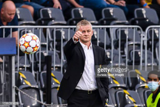 Manchester United Head Coach Ole Gunnar Solskaer gestures during the UEFA Champions League group F match between BSC Young Boys and Manchester United...