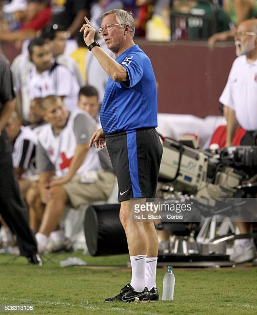Manchester United Head Coach Sir Alex Ferguson during the World Football Challenge Friendly match between FC Barcelona and Manchester United...