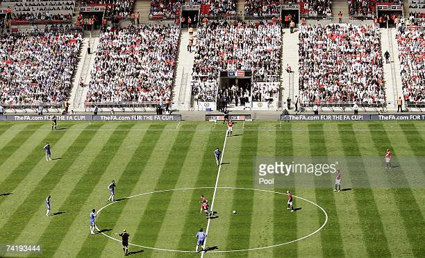 Manchester United kick off the FA Cup Final match sponsored by EON between Manchester United and Chelsea at Wembley Stadium on May 19 2007 in London...