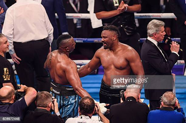 Manchester United Kingdom 10 December 2016 Dillan Whyte left and Derrick Chisora following their WBC World Heavyweight Title Eliminator WBC...