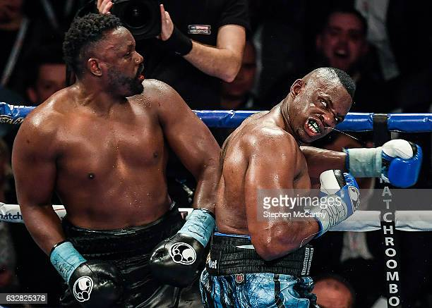Manchester United Kingdom 10 December 2016 Dillan Whyte right exchanges punches with Dereck Chisora during their WBC World Heavyweight Title...
