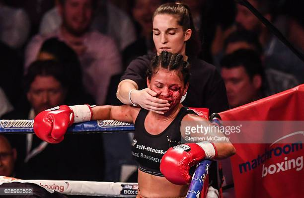 Manchester United Kingdom 10 December 2016 Viviane Obenauf following her SuperFeatherweight fight with Katie Taylor at the Manchester Arena in...