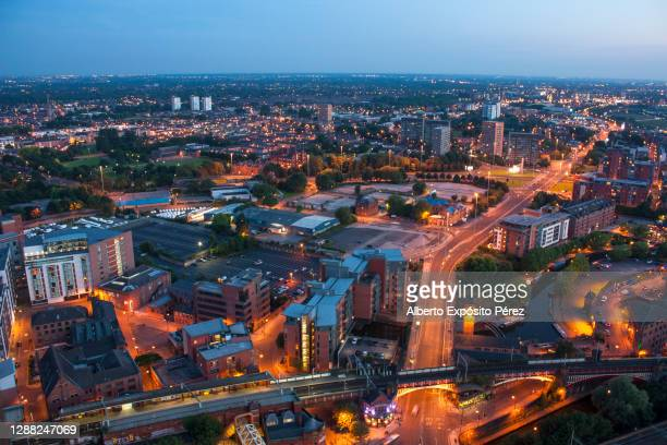 manchester, united kingdom - aerial cityscape (ii) - northwest england stock pictures, royalty-free photos & images