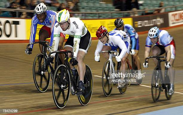 Manchester, UNITED KINGDOM: Australia's Shane Perkins performs during the men's JKA Keirin at the UCI World Cup Classics cycling event at the...