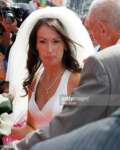 Emma Hadfield arrives for her wedding to Manchester United and England footballer Gary Neville at Manchester Cathedral Manchester north west England...