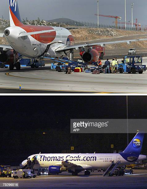 Manchester, UNITED KINGDOM: FILES - The combo of file pictures shows a My Travel plane at the Reina Sofia airport in Granadilla, Spain and a Thomas...