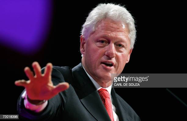 Former US president Bill Clinton gives a speech at the annual Labour Party conference at the GMEX Centre in Manchester northwest England 27 September...