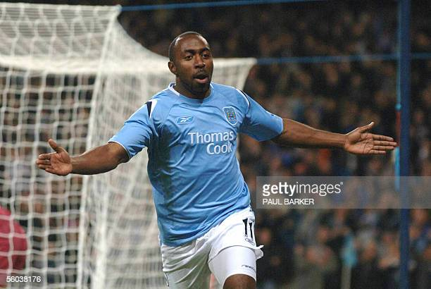Manchester City's Darius Vassell celebrates after scoring to make it 10 against Aston Villa's during a Premiereship match at The City Of Manchester...