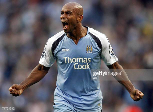 Manchester City's Trevor Sinclair celebrates at the final whistle as City beat Arsenal after their English Premiership soccer match at The City of...