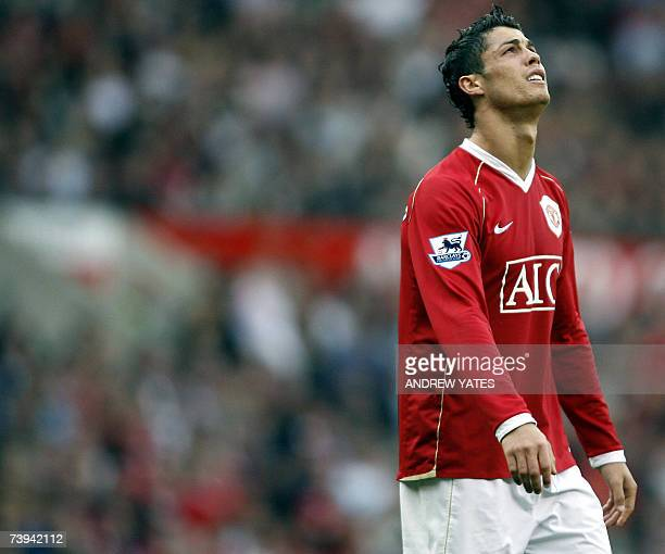 Manchester United's Cristiano Ronaldo reacts after a near miss against Middlesbrough during their English Premiership football match at Old Trafford...
