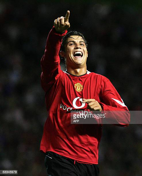Manchester United's Cristiano Ronaldo celebrates the third goal against Debreceni in their European Champion's League Qualifier 3rd round 2nd leg in...