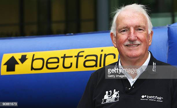 Manchester United legend Alex Stepney poses for a portrait as he referees the Betfair Manchester Derby photo call on September 17 2009 in Manchester...