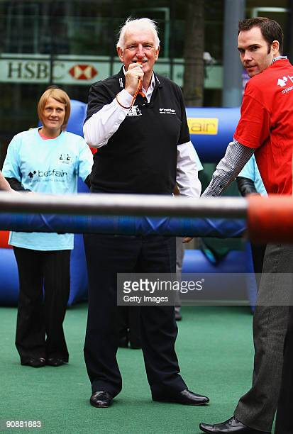 Manchester United legend Alex Stepney referees the Betfair Manchester Derby photo call on September 17 2009 in Manchester Betfair have just launched...