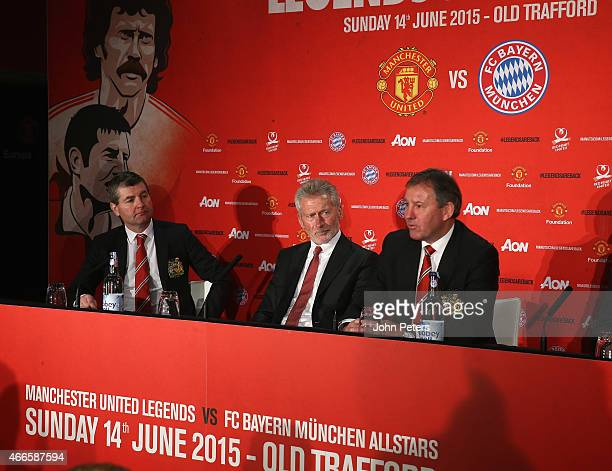 Manchester United Legends Bryan Robson and Denis Irwin and Bayern Munich Legend Paul Breitner attend a press conference to announce a charity game...