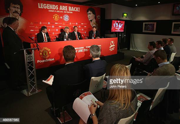 Manchester United Legends Bryan Robson and Denis Irwin Group Managing Director Richard Arnold and Bayern Munich Legend Paul Breitner attend a press...