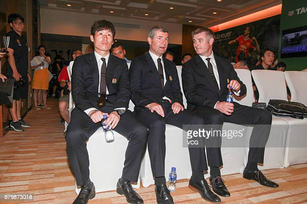 Manchester United legends Denis Irwin and JiSung Park attend the official launch of Manchester United's partnership with Tag Heuer on July 24 2016 in...