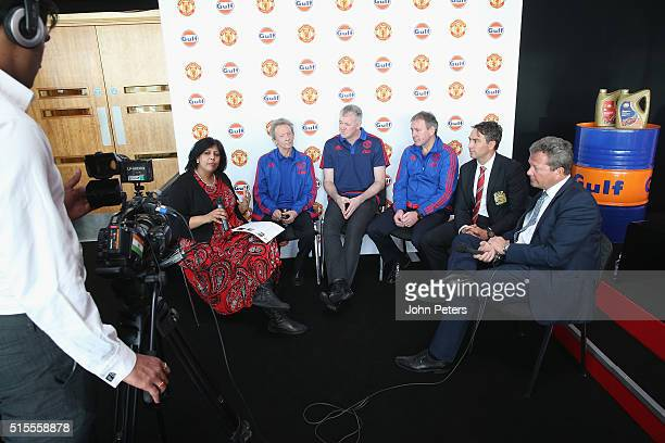 Manchester United legends Denis Law Gary Pallister and Bryan Robson are interview at the launch of a partnership between Manchester United and Gulf...
