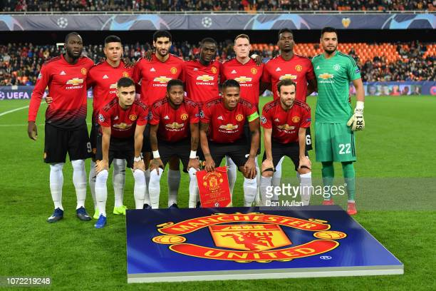 Manchester United line up during the UEFA Champions League Group H match between Valencia and Manchester United at Estadio Mestalla on December 12...