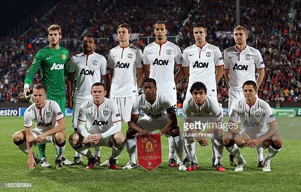 Manchester United line up during the UEFA Champions League Group H match between CFR 1907 Cluj and Manchester United at the Constantin Radulescu...