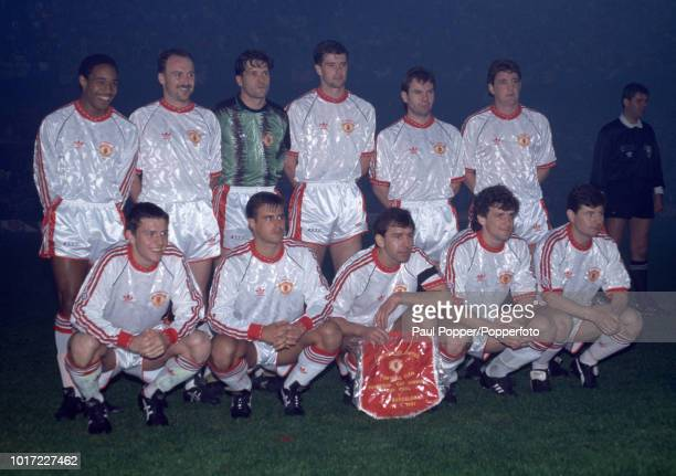 Manchester United line up for a group photo before the European Cup Winners' Cup Final between Manchester United and Barcelona at the Feijenoord...