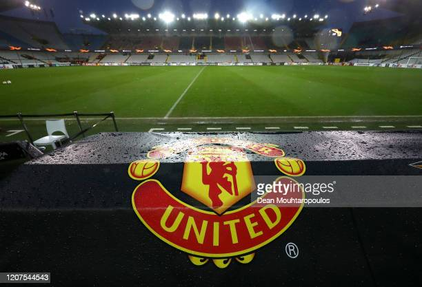 Manchester United logo is seen inside the stadium prior to the UEFA Europa League round of 32 first leg match between Club Brugge and Manchester...