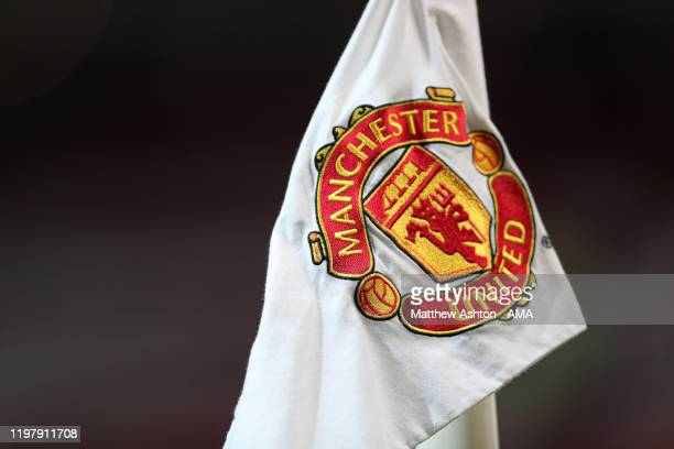 Manchester United logo on corner flag before the Premier League match between Manchester United and Wolverhampton Wanderers at Old Trafford on...