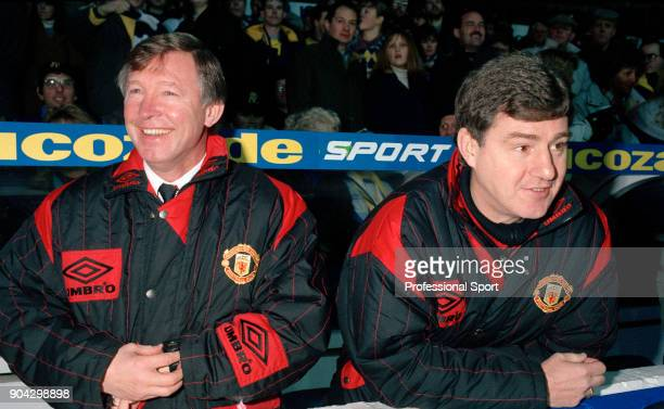 Manchester United manager Alex Ferguson and his assistant Brian Kidd in the dugout before the FA Carling Premiership match between Leeds United and...