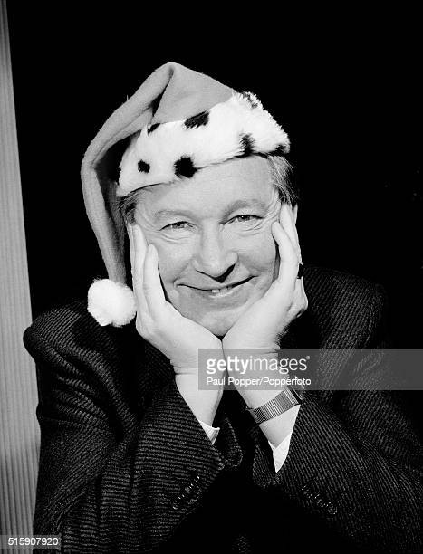 Manchester United manager Alex Ferguson getting in the mood for Christmas circa December 1996