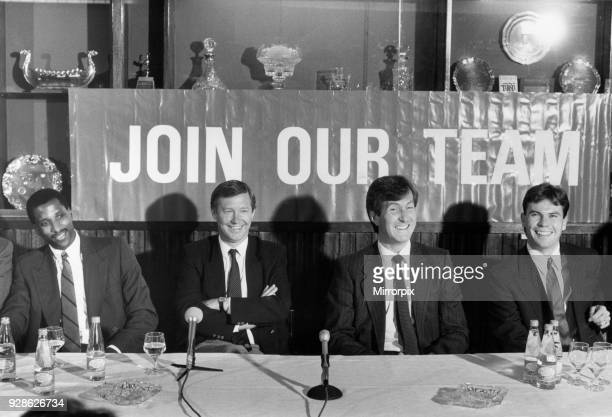 Manchester United manager Alex Ferguson joined by chairman Martin Edwards unveils his new signings Viv Anderson and Brian McClair at Old Trafford...
